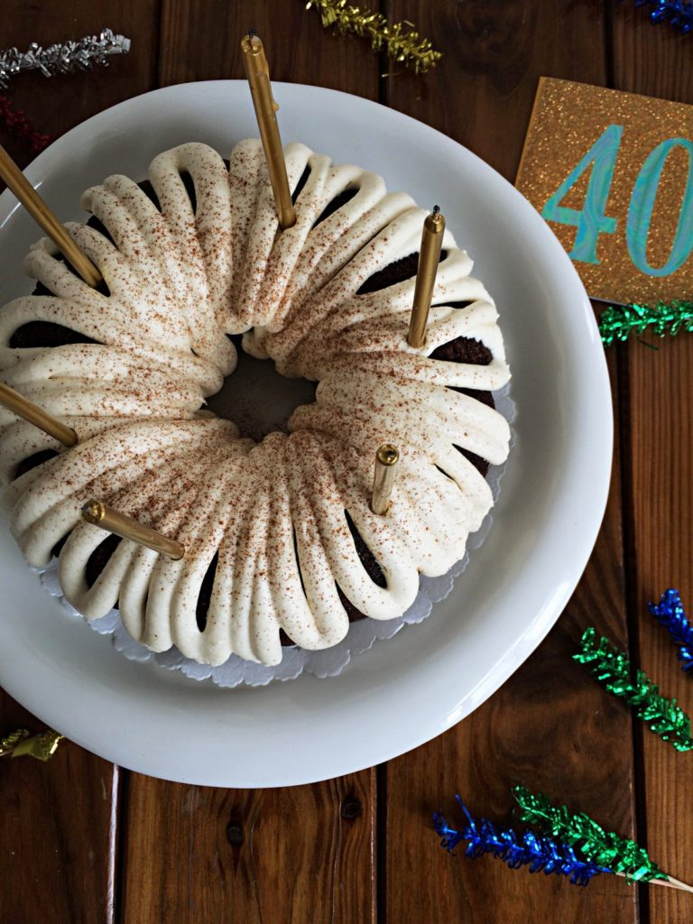 Chocolate Spice Bundt Cake -This chocolate spice bunt cake was the perfect fall treat to celebrate my brother's birthday! With cinnamon, nutmeg & cloves the spices complimented