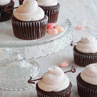 Chocolate Cupcakes with Strawberry Swiss Meringue