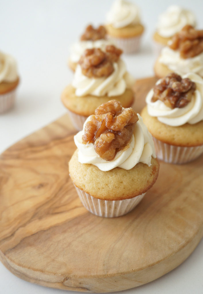 Mini Maple Walnut Cupcakes with Candied Walnuts