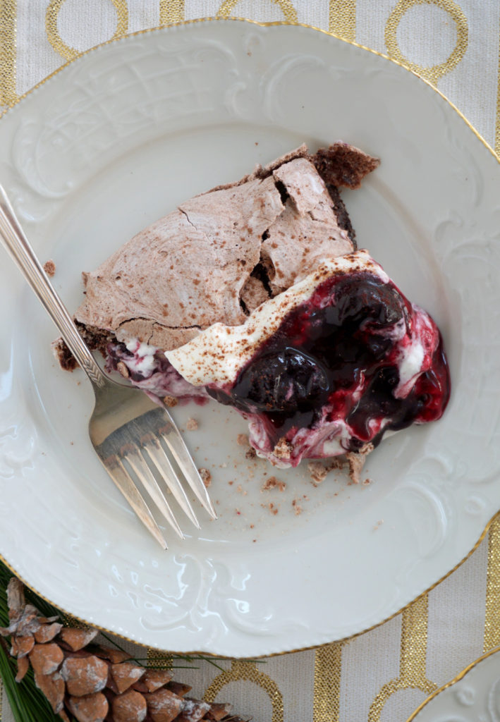 Simple Make a head Dessert for the Holidays - Chocolate Cherry Pavlova. A great option for a gluten free dessert!