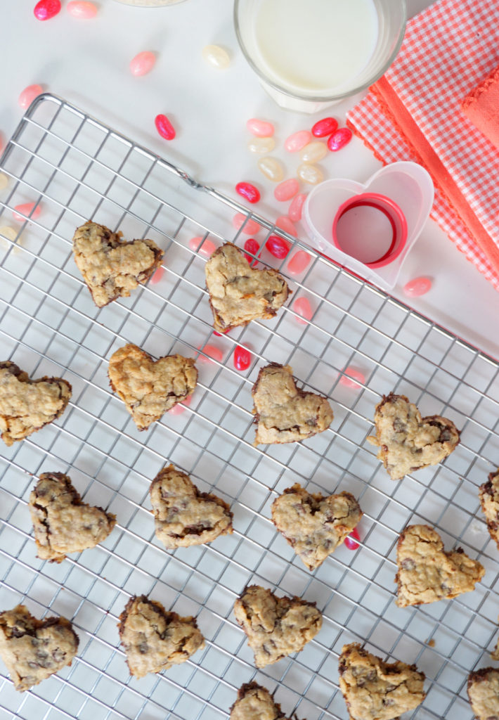 Super Cute and Simple Heart Shaped Oatmeal Chocolate Chip Cookies for Valentine's Day. By Baking For Friends