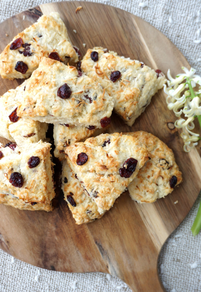 Buttery, Flaky Coconut & Cranberry Scones by Baking for Friends Blog