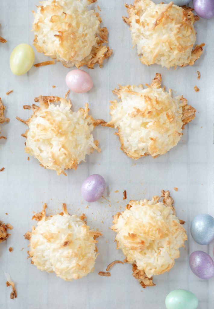 Coconut Macaroons perfect for Easter. Light and sweet, chewy yet crunchy, the perfect treat that's so simple to make and is gluten free!