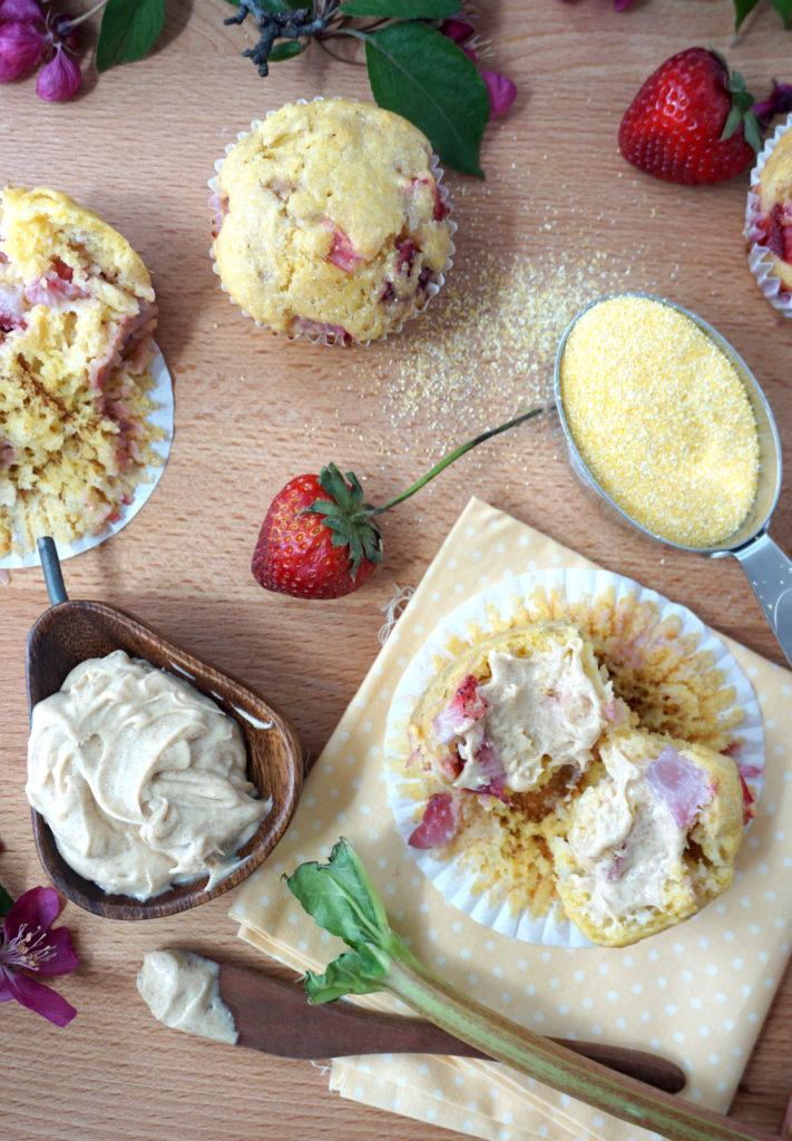 Strawberry Rhubarb Corn Muffins with Brown Butter