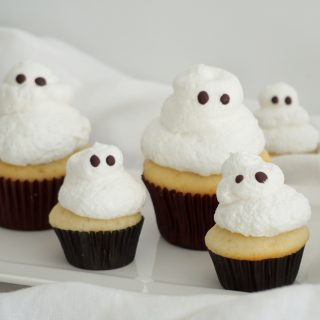 Vanilla Cupcakes with Meringue Frosting to create a fun Halloween Ghost Cupcake