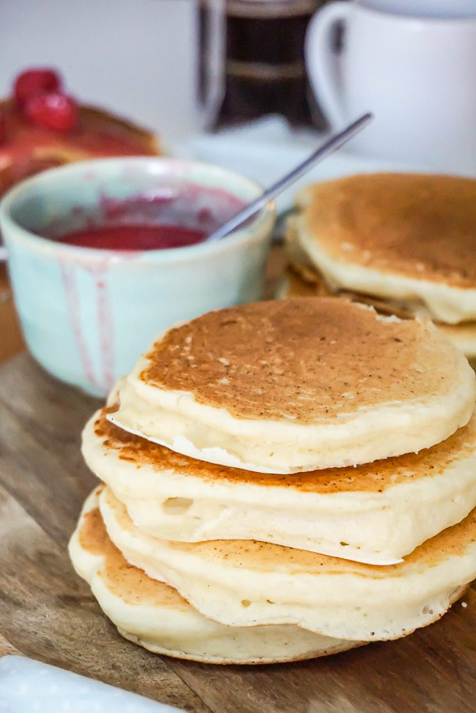 Light & Fluffy Ricotta Pancakes with Raspberry Sauce
